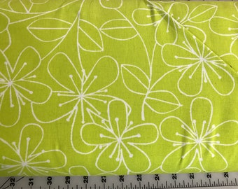 Canvas Fabric - Sevenberry Floral in Lime - BTY