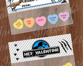 Dinosaur World Valentine Bag Topper / Printable / DIY /Treat bag topper