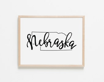 Nebraska Horizontal Nursery Art. Nursery Wall Art. Nursery Prints. Nebraska Wall Art. State Wall Art. Nebraska Nursery.