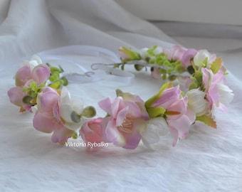 Pink flower crown Wedding flower crown Girls flower crown Bridal floral crown pink and white flower wreath