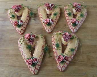 Valentines Day heart ornies set/5 covered in mica ornaments