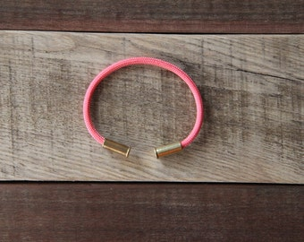 BRZN Bullet Casing Bracelet Bubblegum Pink recycled .22lr shells bright pink 550 paracord wire men women