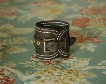 Large hand stitched leather wristband