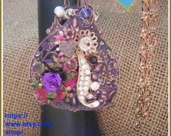 Assemblage Flower Necklace , Assemblage , Focal necklace , Rhinestones, Purple flowers, Pearls, pink ribbon, gold tone chain , OOAK