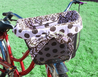 Reversible Bike Basket Liner Brown and Pink  Polka dot With Brown and Pink Damask Fits Most Bike Baskets Ready to ship