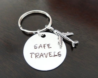 Safe Travels Traveling Good Luck Gift Airplane Plane Handstamped Key Chain Fob Ring