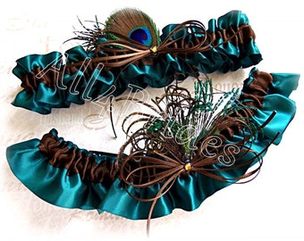 Peacock Bridal Garters - Teal and Chocolate Brown - Peacock Feathers Wedding Bridal Leg Garter Set - Something Blue