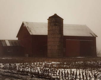 Red barn, barn, silo, snow, fog, winter, Wisconsin,  farmhouse, farmhouse decor, fPOE, rustic, primitive, cloudy, red, brown, gray