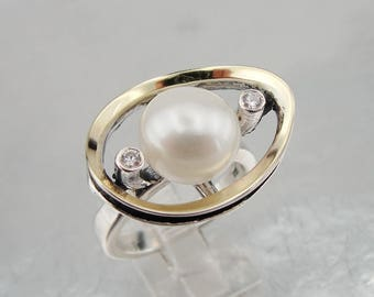 Pearl 925 silver ring, Silver and Gold ring, White Pearl Ring, Yellow gold Pearl Ring, ring size 8, Fine ring, White Pearl Ring (ms 1445r)