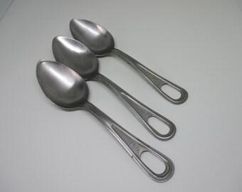 Vintage Set of 3 U.S. Military Spoons Tablespoons Aluminum tableware WWII Navy Spoons Militaria