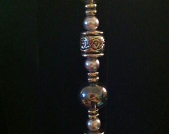 Gray Beads-n-Pearl Bracelet