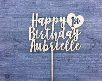 """Personalize Happy 1st Birthday Name Cake Topper with Heart around 1st, 6"""" inches wide, Birthday Topper, Unique Topper, Custom Topper"""
