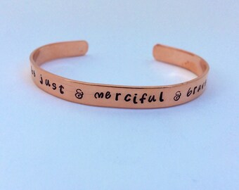 Be Just and Merciful and Brave, CS Lewis, Chronicles of Narnia, bracelet, gift, book lover, literature