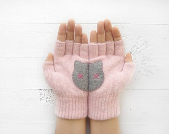 Fingerless Gloves, Cat Gloves, Cat Lover Gift, Pink Gloves, Gift For Her, Gift For Mother, Cat Mitten, Mother's Day Gift, Cat Mitten