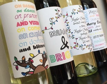Christmas Wine Label - Personalized Holiday Wine Label - Teacher Holiday Wine Gift - Holiday Table Decor -Custom Holiday Wine Gift-Wine Gift
