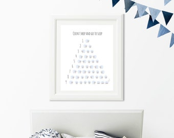 Count Sheep Wall Art, Nursery Digital Print Blue, Baby shower Gift, Printable Decor, Digital Download, Printable Art, Instant download