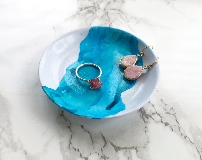 Blue and Teal Marbled Ring Dish