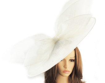 White Eden Fascinator Hatinator Hat for Kentucky Derby, Weddings on a Headband (20 colours available)