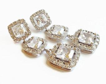 Wedding Earrings - Square Cut Bridal Earrings - Bridesmaid Gift - Wedding Jewelry