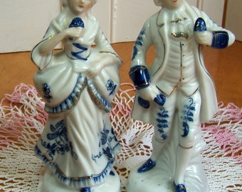 Vintage Victorian Couple - Beautiful Delft Blue embellishments -  Gilding