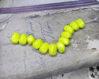 Vintage Plastic Nugget Beads - 12 Acid Yellow Mod Pebble Nuggets - Lightweight Plastic - Mid Century Bright Yellow Vintage Shiny Bright