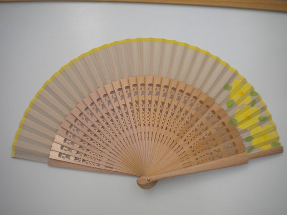 Lemon Floral Natural Wooden Hand Fan SIZE OPTIONS by Kate Dengra Spain Hand Painted Flamenco