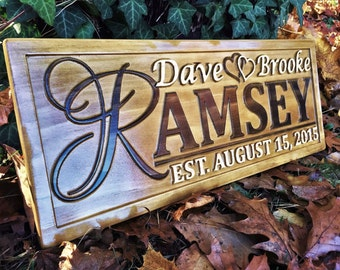 Personalized Couples Gift Personalized Wedding Gift Last Name Established Sign Personalized Family Name Sign Anniversary Custom Wooden Sign