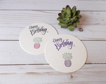Pineapple Coasters, Party Table Decor, Happy Birthday Coasters, Hand Stamped Drink Coasters, Tropical Birthday Party