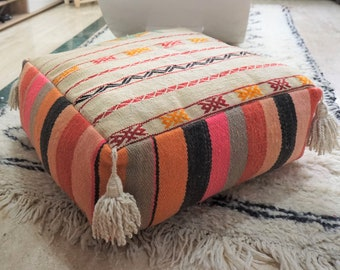 Vintage Batania Kilim Pouf Floor Pillow Tassel Handmade Native Wool Throw Ottoman 03YS00204