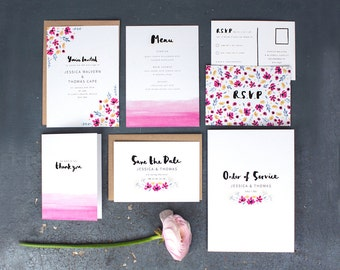 Printed Wedding Stationery Set 'Watercolour Meadow'