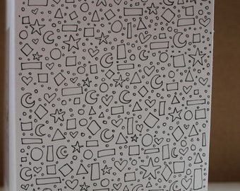 Detailed doodle shapes, hearts, stars and more A6 Blank Card