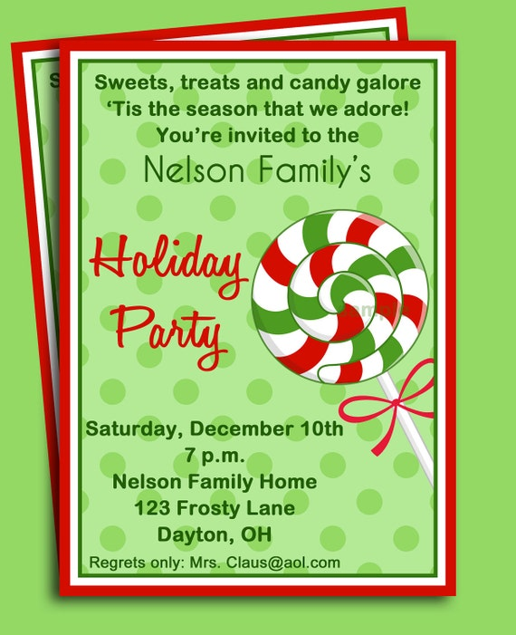 Christmas Party Invitation Quotes: Items Similar To Christmas Candy Invitation Printable