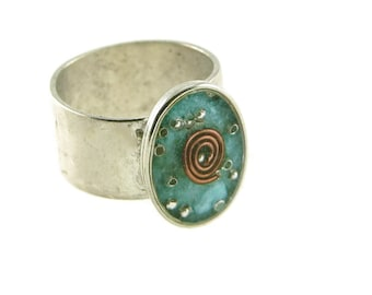 Orgone Energy Ring with Turquoise - Small Oval Cocktail Ring - Adjustable Ring - Orgone Energy Jewelry - Artisan Jewelry