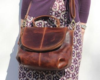 Leather Crossbody Bag, Leather Handbag, Shoulder Bag, Purse, Distressed Brown