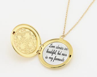 Gold Engraved Necklace, Custom Engraved Locket Necklace, Engraved Necklace, Customized Necklace, Personalized Necklace, Layering Necklace