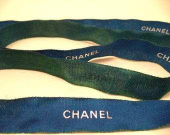 """Chanel ribbon by the yard blue with silver logo 5/8"""" wide iridescent green back side & edge holiday 2017 gift wrapping hair crafts ornament"""