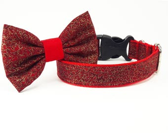 Red collar, dog collar and bow, dog collars for girls, dog collars for boys, dog collar bows, fancy dog collar, dog collar, winter collar