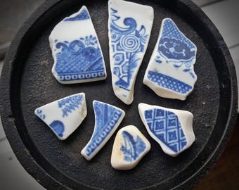 Seaglassed Blue and White China Sea-Tumbled China For Jewelry or Crafts Loose (7)