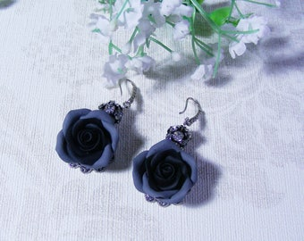 Polymer clay Jewelry  Floral Earrings Polymer clay Earrings  Black Earrings  Flower earrings Floral Jewelry Gift mother's day