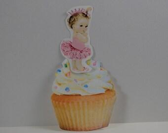 Double sided Cupcake Toppers, Baby Girl Cupcake picks, Baby shower cupcake picks,Princess Ballerina Baby Girl, Vintage baby Girl Princess