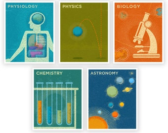 Kids Room Decor, Art for Girls Room Art for Boys Room, Art, 5 Science Prints, Retro Science Art Prints for Boys Room, Prints Kids, Girl Art