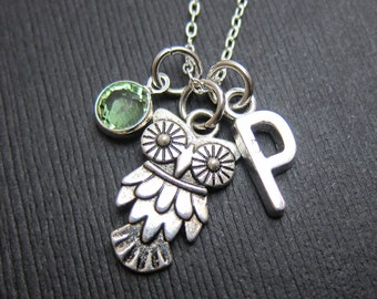 Owl Silver Necklace - Personalized Initial Name, Customized Swarovski crystal birthstone