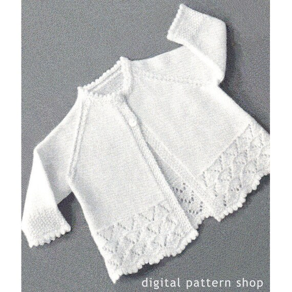 1950s Vintage Knit Baby Sweater Pattern Lacy Raglan Sleeve