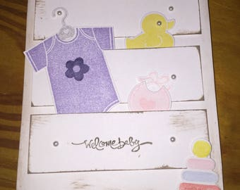 Welcome baby card (girl)
