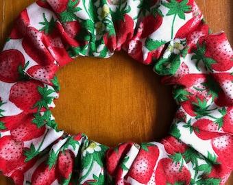 Cotton Strawberry Hair Scrunchie