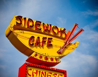 Sidewok Cafe Neon Sign Print | Retro Kitchen Decor | Denver Photography | Neon Sign Art | Chinese Food Sign | Colfax Art | Retro Kitchen Art