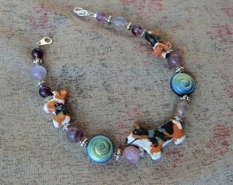 Handmade WELSH CORGI Tri-color Clay Bead Bracelet Fluorite Beads