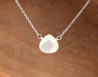 Mother of pearl necklace - bridesmaid necklace - abalone necklace - white shell necklace - teardrop necklace - floating necklace