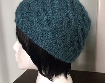 Blue cable hat