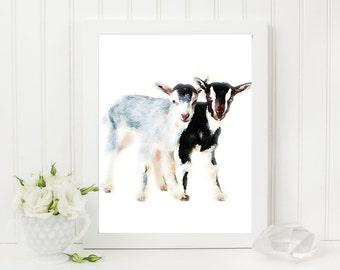 Baby goats watercolor wall art, baby goats print, goat clipart - watercolor - printable - jpg & png